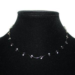 "Gun metal black and rhinestone necklace 15.5"""